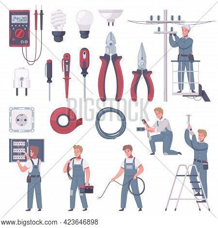 Electrician Cartoon Set Of Isolated Handyman Characters With Icons Of Various Manual Tools And Elect