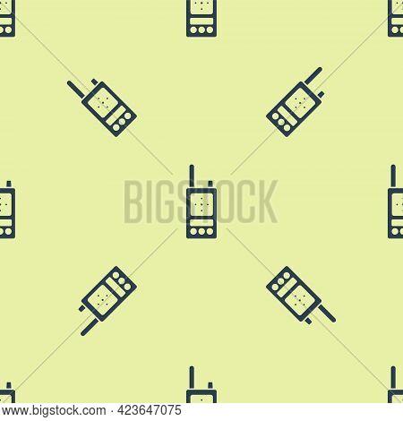 Blue Walkie Talkie Icon Isolated Seamless Pattern On Yellow Background. Portable Radio Transmitter I