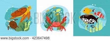 Aquarium Flat Design Concept With Sea And Ocean Creatures Under Water Isolated Vector Illustration