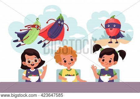 Kids Fantasies. Cartoon Children Dreaming About Superhero Vegetables Characters. Happy Girls And Boy