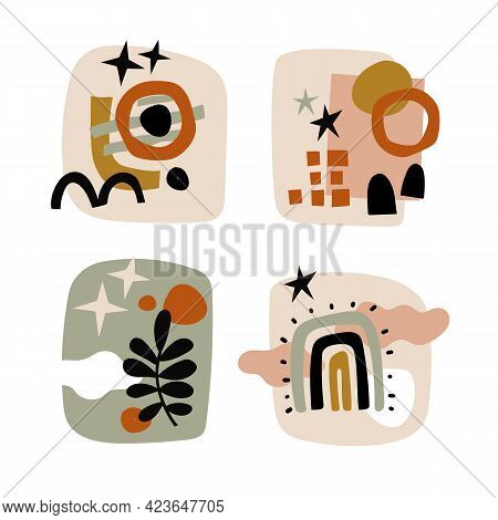 Modern Collages Set. Various Doodle Shapes Abstract Objects, Natural Colors Botanical Elements, Tren