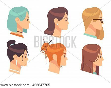 Female Head Profile. Cartoon Woman Portraits. Girls With Different Hairstyles And Accessories. Hairc