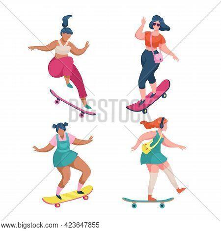 Girls Skateboarders. Young Women Riding Skateboards. Cartoon Female Characters Skateboarding Outdoor