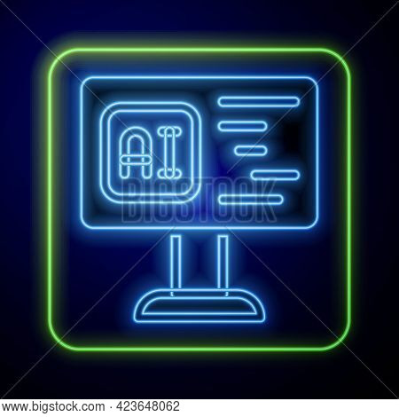 Glowing Neon Software, Web Developer Programming Code Icon Isolated On Blue Background. Javascript C