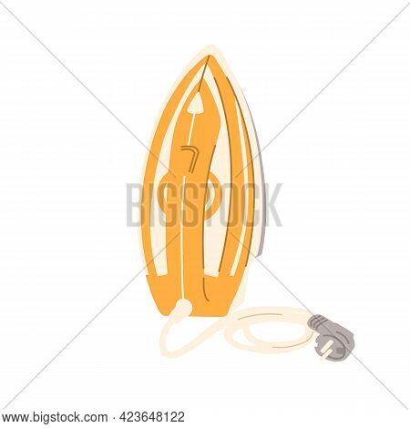 Steam Iron Press With Cord And Plug Standing Upright. Domestic Housekeeping Electric Appliance. Colo