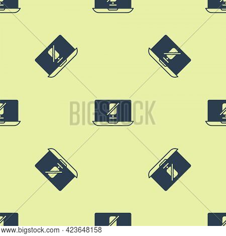 Blue Mute Microphone On Laptop Icon Isolated Seamless Pattern On Yellow Background. Microphone Audio