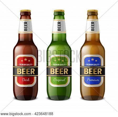 Realistic Beer Bottle. Glass 3d Drinks Containers. Refreshment Brewery Products Template. Isolated F
