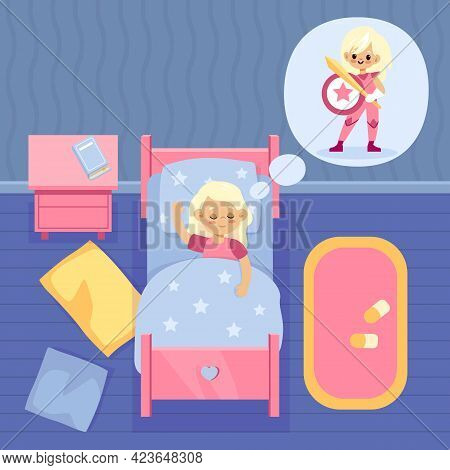 Girls Dream. Cartoon Kid Sleeps And Dreaming Of Superheroes. Child Wants To Be Hero With Sword And S