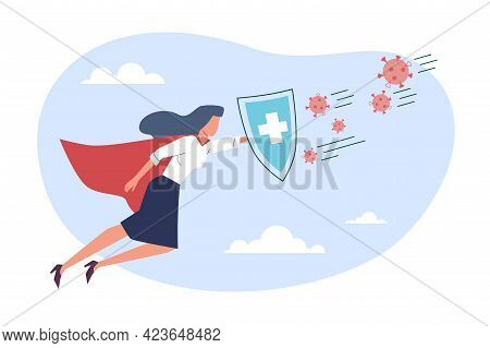 Virus Protection. Superhero Flying And Holding Shield To Protect Against Pathogens. Doctor Fight Wit