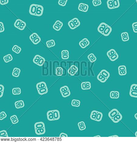 Green 90s Retro Icon Isolated Seamless Pattern On Green Background. Nineties Poster. Vector