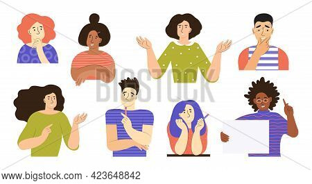 Set Of People With Different Mental Mindset Types Or Models. Mind Behavior Concept. Creative, Imagin