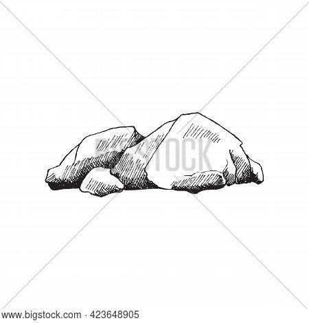 Heap Of Stones, Big Heavy Boulders, Granite Rocks A Vector Illustration.