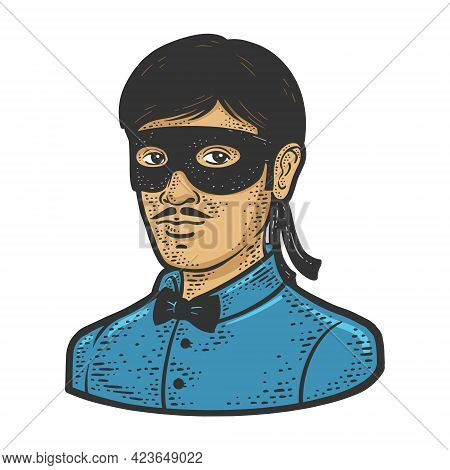 Man Small Black Masquerade Mask Color Line Art Sketch Engraving Vector Illustration. T-shirt Apparel