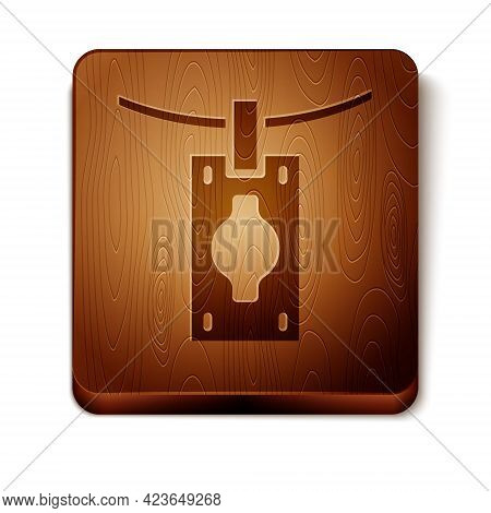 Brown Money Laundering Icon Isolated On White Background. Money Crime Concept. Wooden Square Button.
