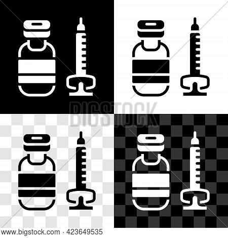 Set Medical Syringe With Needle Icon Isolated On Black And White, Transparent Background. Vaccinatio