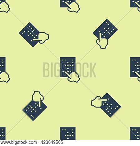 Blue Braille Icon Isolated Seamless Pattern On Yellow Background. Finger Drives On Points. Writing S