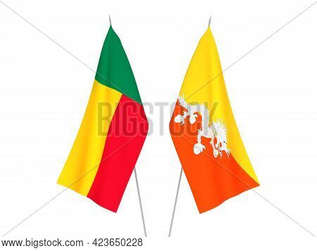 National Fabric Flags Of Benin And Kingdom Of Bhutan Isolated On White Background. 3d Rendering Illu
