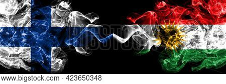 Finland, Finnish Vs Kurdistan, Kurdish, Kurds Smoky Flags Side By Side.