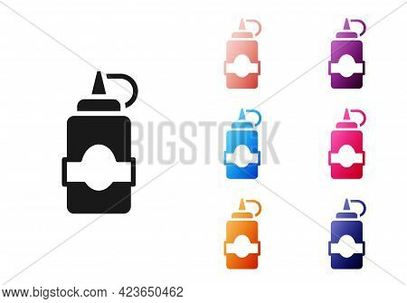 Black Sauce Bottle Icon Isolated On White Background. Ketchup, Mustard And Mayonnaise Bottles With S