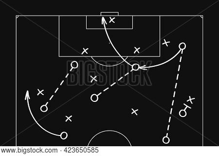 Football Soccer Game Playbook, Tactics And Strategy Diagram Drawn With White Marker On Blackboard.