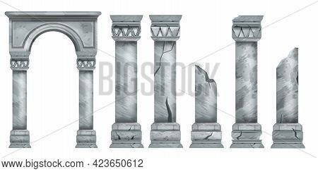 Roman Marble Pillars Set, Ancient Vector Greek Stone Broken Columns Collection, Antique Architecture