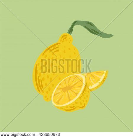 Lemon Poster. Citrus Illustration Of Lemons. Cute Citrus Fruits. Vector Illustration