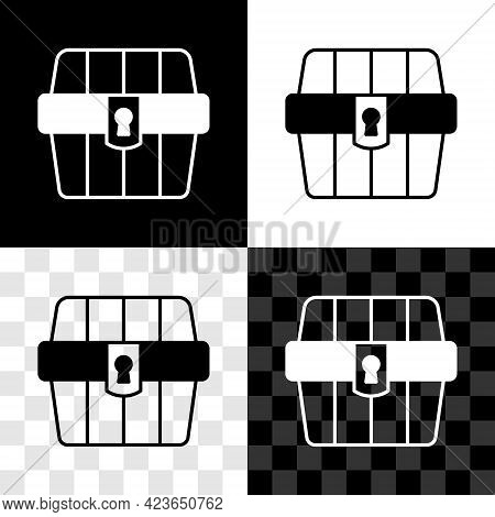 Set Antique Treasure Chest Icon Isolated On Black And White, Transparent Background. Vintage Wooden