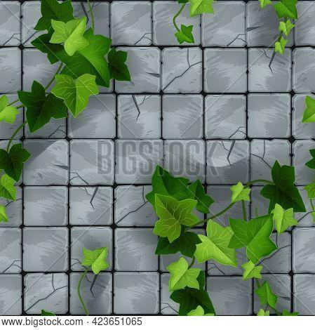 Stone Floor Pavement Seamless Pattern, Square Rock Tile Sidewalk Texture, Brick Wall Vector Backgrou