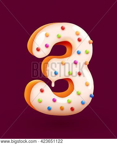 Glazed Donut Font. Number 3. Number Three Cake. Dessert Style. Collection Of Tasty Bakery Numbers Wi
