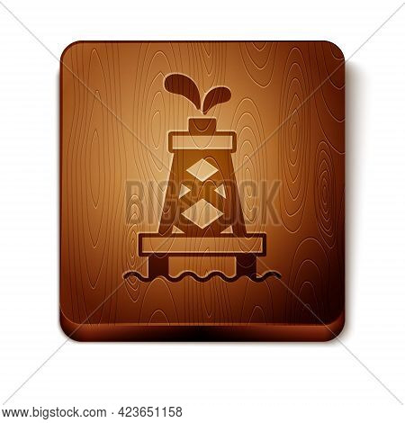 Brown Oil Rig Icon Isolated On White Background. Gas Tower. Industrial Object. Wooden Square Button.