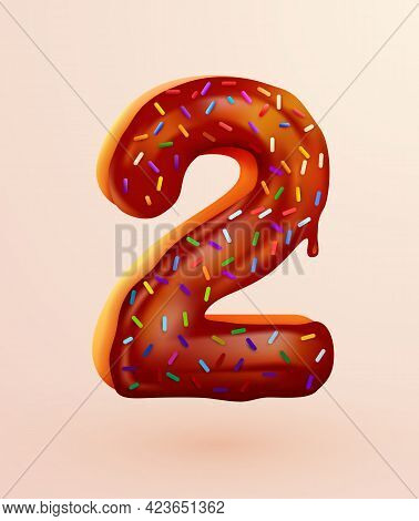 Glazed Donut Font. Number 2. Number Two Cake. Dessert Style. Collection Of Tasty Bakery Numbers With