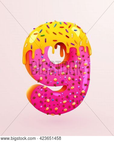 Glazed Donut Font. Number 9. Number Nine Cake. Dessert Style. Collection Of Tasty Bakery Numbers Wit