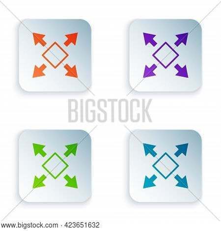 Color Many Ways Directional Arrow Icon Isolated On White Background. Set Colorful Icons In Square Bu