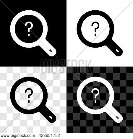 Set Unknown Search Icon Isolated On Black And White, Transparent Background. Magnifying Glass And Qu