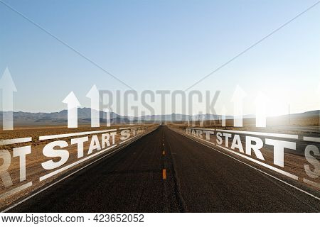 Creative Sunny Road To Success, Start Up And Strategy Concept. Mock Up Space On Sky Background