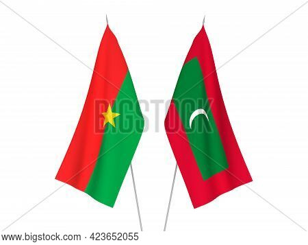 National Fabric Flags Of Maldives And Burkina Faso Isolated On White Background. 3d Rendering Illust