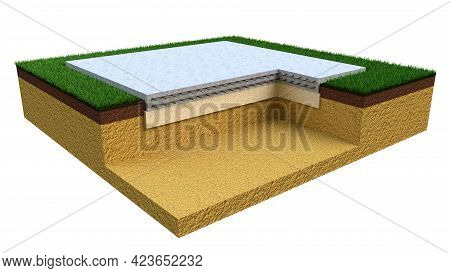 Slab-on-grade Foundation - Isolated Industrial 3d Rendering