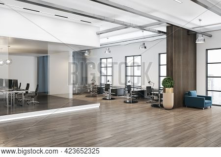 Stylish Open Space Office Interior Design With Light Ceiling And Walls, Modern Furniture, Wooden Par