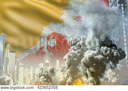 Huge Smoke Pillar With Fire In Abstract City - Concept Of Industrial Accident Or Terrorist Act On Bh