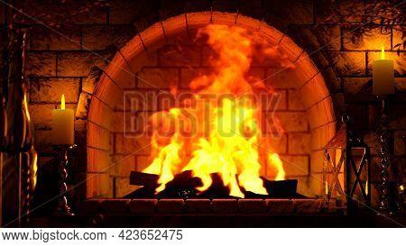 Red Masonry Hearth Flames Shining - Digital Object 3d Illustration