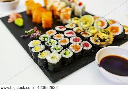 Japanese Food. Sushi. Seafood Fabrics. Japanese Culture. White Background.plate Of Japanese Traditio