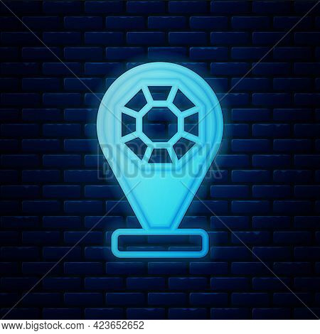 Glowing Neon Front Facade Building Jewelry Store Icon Isolated On Brick Wall Background. Vector