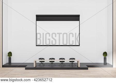 Modern Concrete Auditorium Interior With Empty Banner, Seatings And Daylight. Workshop Concept. Mock