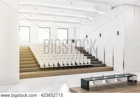 Modern Concrete Auditorium Interior With Seatings, City View And Daylight. Training Concept. 3d Rend
