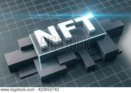 Nft Nonfungible Tokens Concept With Nft Sign On Abstract Dark Geometrical Volumetric Figures At Squa