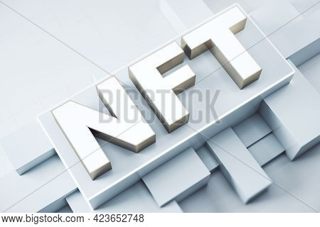 Nft Non Fungible Tokens Crypto Art Concept With White Big Symbols On Abstract Industrial Backdrop. 3