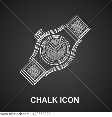 Chalk Wrist Watch Icon Isolated On Black Background. Wristwatch Icon. Vector