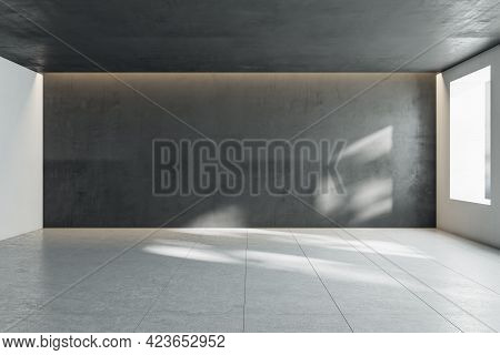Sunny Empty Hall Room With Dark Wall, Window And Light Squared Floor. 3d Rendering, Mockup