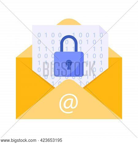 Email Security Concept. Yellow Email Protected From Spam And Attack Threats. Vector Illustration.