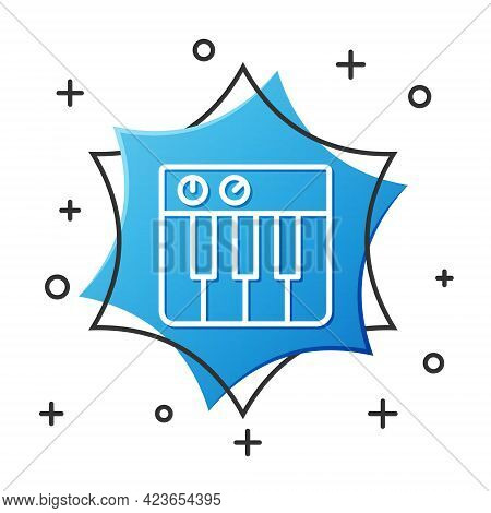 White Line Music Synthesizer Icon Isolated On White Background. Electronic Piano. Blue Hexagon Butto